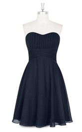 Sweetheart A-Line Chiffon Strapless Dress With Pleated Bodice