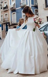 Simple Backless Long Sleeve Satin Ball Gown Wedding Dresses