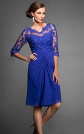 3-4 Sleeved V-Neck Knee-Length Mother Of The Bride Dress With Appliques