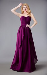 Sweetheart Chiffon Long Bridesmaid Dress With Layered Skirt