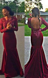 Gorgeous Long Sleeve Burgundy Evening Dresses 2018 Long Mermaid Lace Appliques
