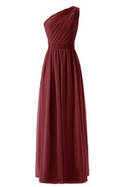 One-shoulder Chiffon Dress With Pleat and Belt