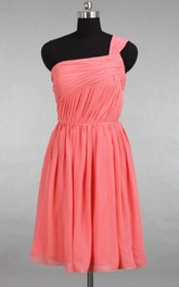Junior Short One Shoulder Coral Chiffon Bridesmaid Dress