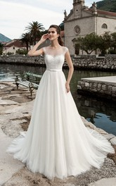 A-Line Floor-Length Jewel-Neck Cap-Sleeve Illusion Tulle Dress With Pleatings