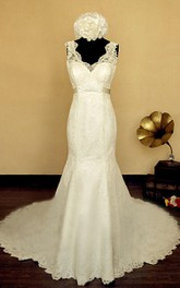 Scalloped Empire Button Back Mermaid Lace Wedding Dress With Sash And Flower