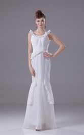 V-Neck Sleeveless Mermaid Chiffon Dress with Draping