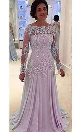 A-line Bateau Illusion Long Sleeve Floor-length Chiffon Lace Mother of the Bride Dress with Pleats