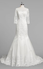 Bateau Neck 3 4 Sleeve Mermaid Lace Wedding Dress With Beading