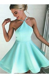 A-line Halter Sleeveless Pleats Short Mini Satin Homecoming Dress