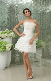 Vibrant Strapless Gown With Apliques And Ruffles