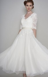 Simple Lace and Organza A-line V-neck Half Sleeve Ankle Length Bridal Gown