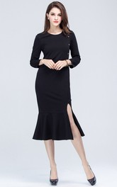 Black Long Sleeve Sheath Dress with Slit