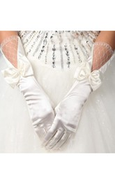 Long Stretch Satin Large Bowknot Gloves