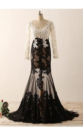 Mermaid Floor-length Long Sleeve Tulle Lace Dress