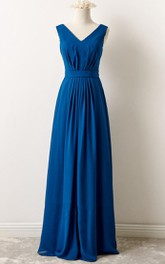 Tea-length V-neck Chiffon Dress