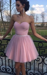 A-line Sweetheart Sleeveless Beading Pleats Short Mini Satin Tulle Homecoming Dress