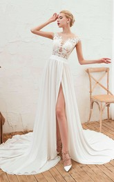 Cap Sleeve Elegant A-line Split Front Illusion Lace Appliqued Chiffon Bridal Gown