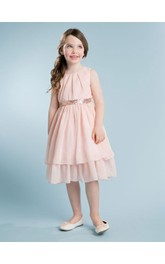 Sweet Blush Sleeveless A-line Pleated Knee Length Chiffon Dress