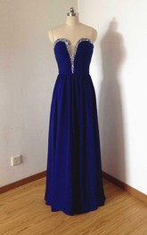 Strapless Floor-length Chiffon Dress With Beading