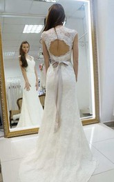 Queen Anne Lace Appliqued Sheath Wedding Dress With Floral Waist