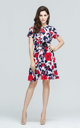 Flower Print  Bateau Short Sleeve Mini Dress