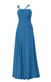 Sleeveless Asymmetrical Ruched Bodice Long Pleated Chiffon Dress