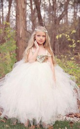 Gold Flower Girl Tutu Gold Sequin Dress With Off-the-shoulder