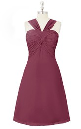 A-Line Chiffon Sweetheart Sleeveless Dress With Ruched Bodice
