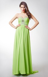 Alluring Two-toned Sweetheart Ruched Bodice Chiffon Dress With Beaded Empire Waist