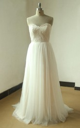 Sweetheart A-Line Tulle Wedding Dress With Lace Bodice