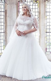 Ball Gown Scoop-Neck Sleeveless Long Tulle Plus Size Wedding Dress With Appliques And Brush Train
