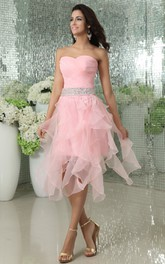 Sweetheart Short Dress With Cascading Ruffles And Beaded Waist