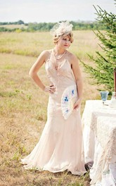 Beaded Flapper Spaghetti Strap Chiffon Wedding Dress With Backless