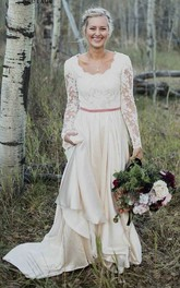 Elegant Sheath Scalloped Long Sleeve Lace And Satin Wedding Dress