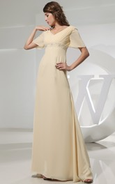 V-Neck Strapless Empire Chiffon Dress With Beading