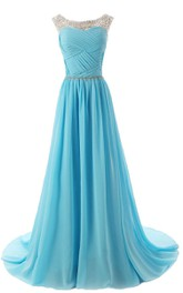 Sleeveless A-line Long Chiffon Dress With Beadings and Pleats
