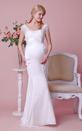 Lace Cap-sleeved Mermaid Satin Maternity Wedding Dress With Empire Waist and Bow