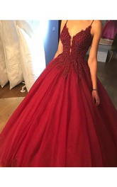 Red A line Lace Beaded V Neckline Long Evening Prom Dress