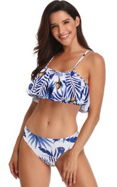 Tropical Spaghetti Falbala Bikini Set