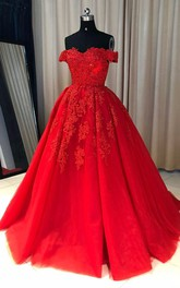 Off Shoulder Lace A-line Cheap Evening Prom Dress