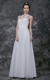 Sweetheart V Halter Neck Pleated Long Tulle Gown With Lace Bodice