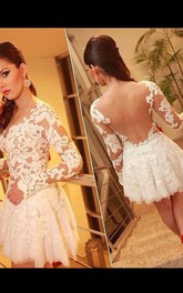 A-Line Princess Scoop Long Sleeves Lace Short Mini Tulle Dresses