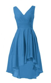 Sleeveless V-neck Ruched Bodice High-low Chiffon Dress