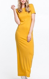 Short Sleeve Sheath Long Jersey Dress