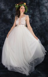 Tulle Satin Beaded Sash Ribbon Lace Backless Zipper Wedding Dress