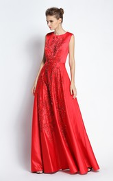 A-Line Jewel Sleeveless Floor-length Satin Prom Dress with Beading