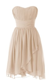 Delicate Sweetheart Drapped Short Dress With Ruched Band