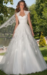 A-Line Cap-Sleeve Floor-Length Ruched Sweetheart Tulle Wedding Dress With Appliques And Cape