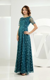 Refined Short-Sleeve Bateau-Neck Long Dress With Embroideries