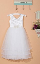 Sleeveless V-neck Layered Tulle&Satin Dress With Flower